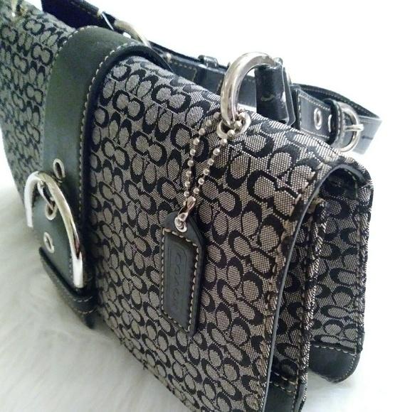 1dbb82c5db Coach Handbags - Coach Shoulder Bag E0407075 Canvas Leather Black